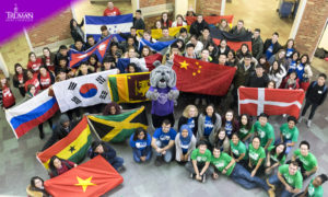 International students and flags from different countries